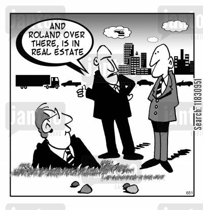 land sales cartoon humor: Roland is in real estate.