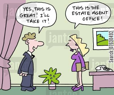 real estate office cartoon humor: Estate Agent Office