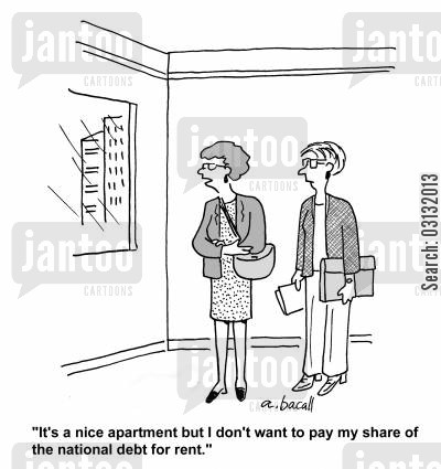 budget deficits cartoon humor: It's a nice apartment but I don't want to pay my share of the national debt for rent.