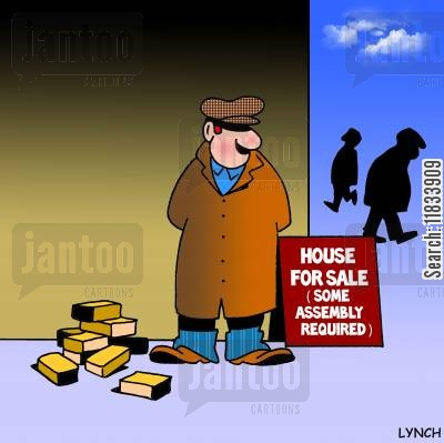 new home cartoon humor: House for sale - some assembly required