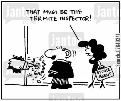 termite damage cartoon humor: 'That must be the termite inspector.'