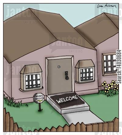 security system cartoon humor: Welcome?