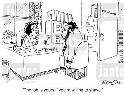 great ape cartoon humor: 'The job is yours if you're willing to shave.'