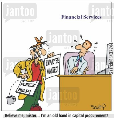 raising money cartoon humor: 'Believe me, mister... I'm an old hand in capital procurement!'