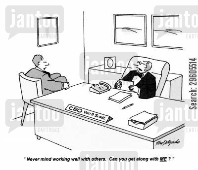 get on cartoon humor: 'Never mind working well with others. Can you get along with ME?'