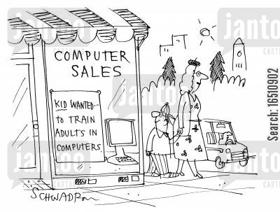 computer sales cartoon humor: Computer Sales: Kid Wanted - To train adults in computers.