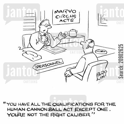 human cannonball cartoon humor: 'You have all the qualifications for the human cannonball act except one. You're not the right caliber.'