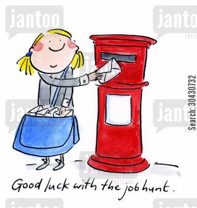 postbox cartoon humor: Good Luck with the job hunt.