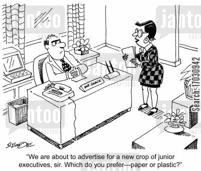 juniors cartoon humor: 'We are about to advertise for a new crop of junior executives, sir. Which do you prefer