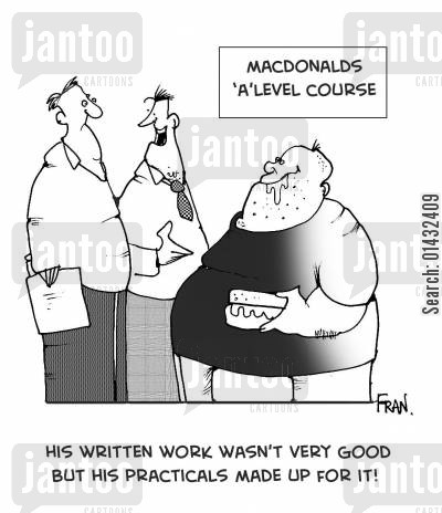 coronary cartoon humor: His Written Work Wasn't Very Good But His Practicals Made Up For It.