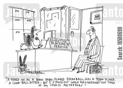 business talk cartoon humor: I got struck out when management got tired of my sports metaphors.