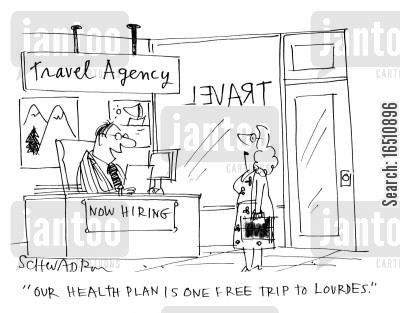 pilgrams cartoon humor: 'Our health plan is one free trip to Lourdes.'