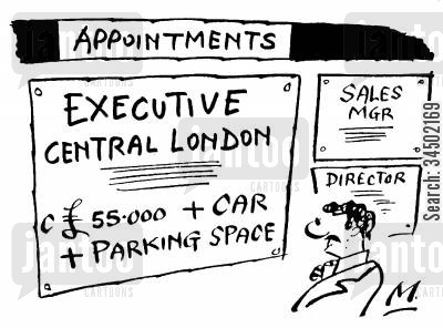 central london cartoon humor: Appointment for Central London Executive - With Car and Parking Space