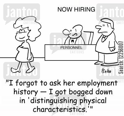 employment history cartoon humor: 'I forgot to ask her employment history -- I got bogged won in 'distinguishing personal characteristics.''