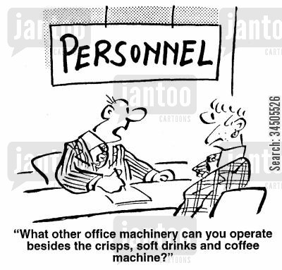 soft drinks cartoon humor: What other office machinery can you operate besides the crisps, soft drinks and coffee machines?