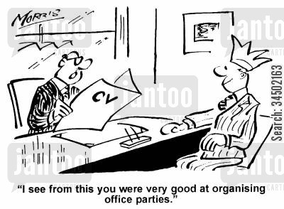 frivolity cartoon humor: I see from this you were very good at organising office parties.