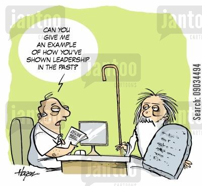 interviewer cartoon humor: 'Can you show me an example of how you've shown leadership in the past?'