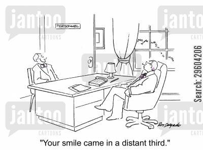 scoring cartoon humor: 'Your smile came in a distant third.'