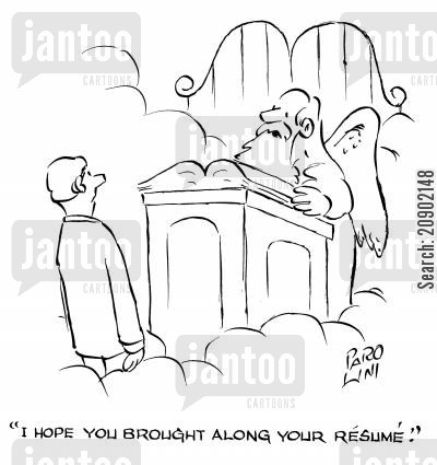 entry to heaven cartoon humor: 'I hope you brought along your resume.'