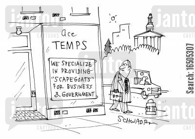 temping cartoon humor: Ace Temps - We specialize in providing 'scapegoats' for business & government.
