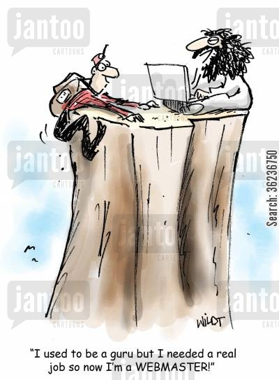 web cartoon humor: 'I used to be a guru but I needed a real job so now I'm a WEBMASTER!'