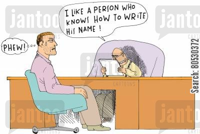 solicitation cartoon humor: 'I like a person who knows how to write his name!'