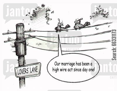 tightrope walker cartoon humor: Our marriage has been a high wire act since day one!