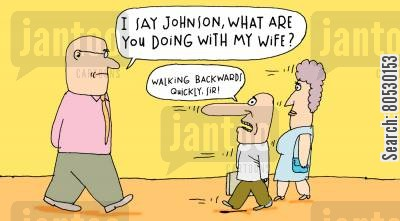 adulterer cartoon humor: 'I say Johnson, what are you doing with my wife?'