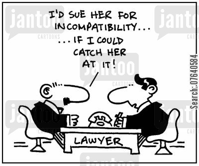 divorce settlements cartoon humor: 'I'd sue her for incompatibilty, if I could catch her at it.'