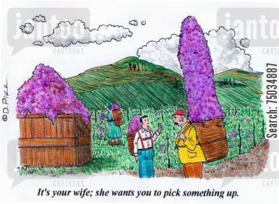 picker cartoon humor: 'It's your wife; she wants you to pick something up.'