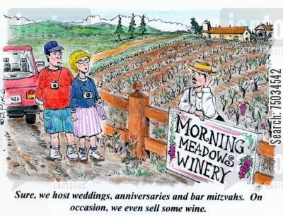 bar mitzvah cartoon humor: 'Sure, we host weddings, anniversaries and bar mitzvahs. On occasion, we even sell some wine.'