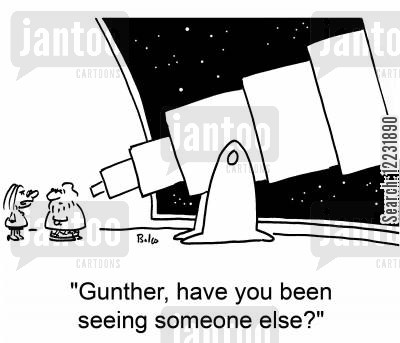 observe cartoon humor: 'Gunther, have you been seeing someone else?'