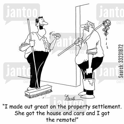 settlement cartoon humor: 'I made out great on the property settlement. She got the house and the cars and I got the remote!'