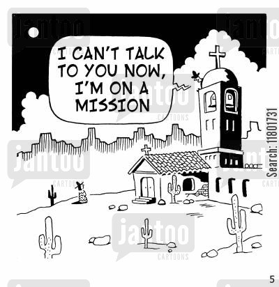 baptist cartoon humor: 'I can't talk to you now, I'm on a mission.'