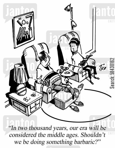 domestic life cartoon humor: Shouldn't We Be Doing Something Barbaric?