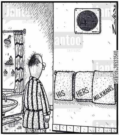 fling cartoon humor: HisHersMilkman's Towels.