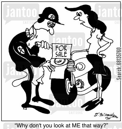 highway patrolmen cartoon humor: 'Why don't you look at ME that way?'