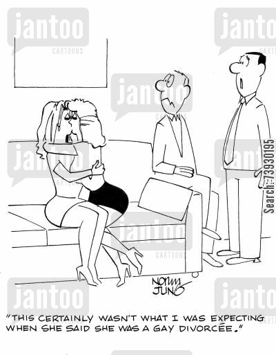 lesbian cartoon humor: 'This certainly wasn't what I was expecting when she said she was a gay divorcee.'
