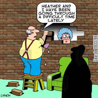 rough patch cartoon humor: 'Heather and I have been going through a difficult time recently.'