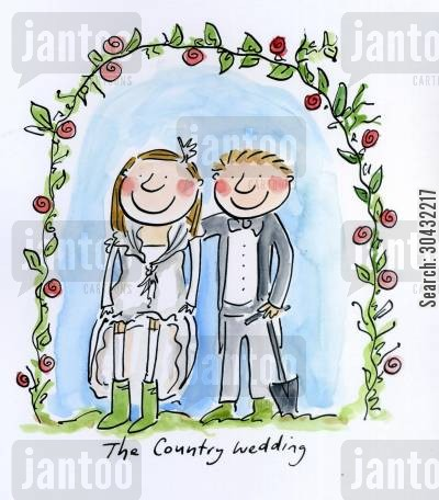country wedding cartoon humor: The Country Wedding.