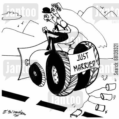 heavy equipment operator cartoon humor: Just Married
