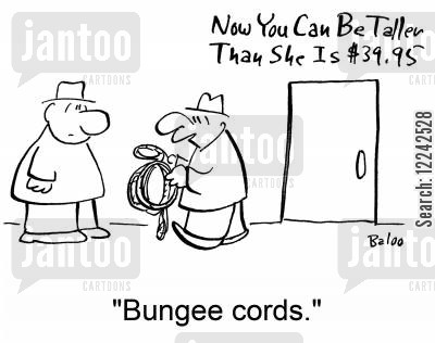 tall girls cartoon humor: Now You can be Taller Than She is: 'Bungee cords.'