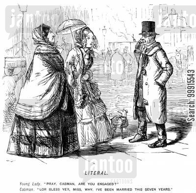hackney carriage cartoon humor: Women asking a cabman if he is engaged