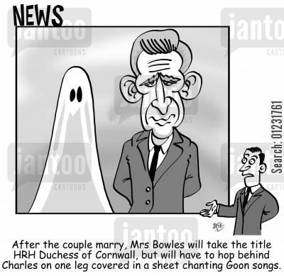 prince charles cartoon humor: After the couple marry, Mrs Bowles will take the title HRH Duchess of Cornwall, but will have to hop behind Charles on one leg covered in a sheet chanting Goon songs.
