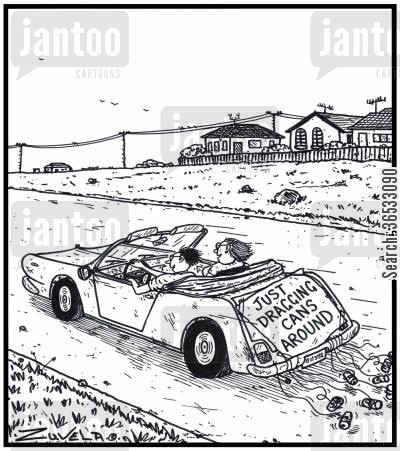 just married cartoon humor: Just dragging cans around.