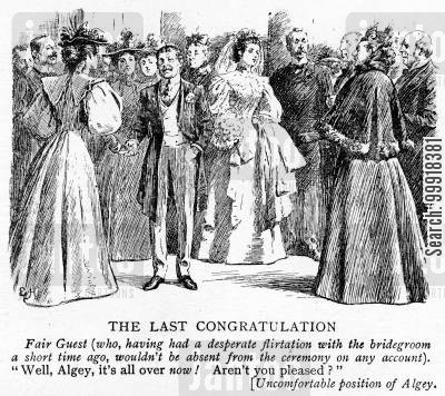 ceremony cartoon humor: Female guest congratulating the bridegroom.