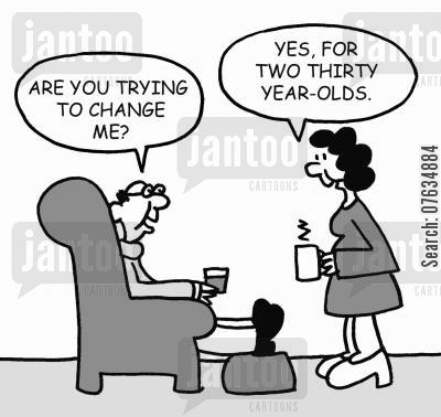old married couple cartoon humor: Are you trying to change me?