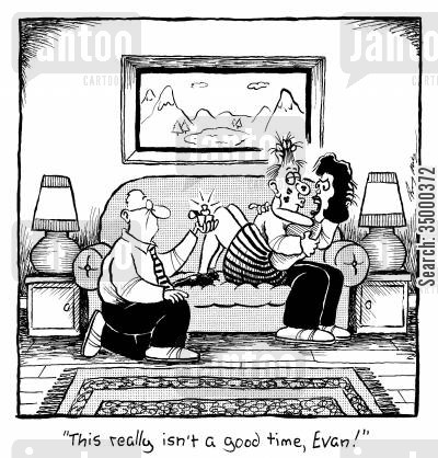 marriage proposal cartoon humor: This isn't really a good time, Evan!