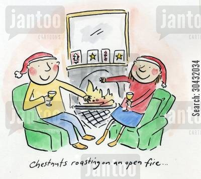 chestnuts cartoon humor: Chestnuts roasting on an open fire.