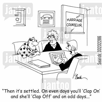 clapping cartoon humor: 'Then it's settled. On even days you'll 'Clap On' and she'll 'Clap Off' and odd days...'